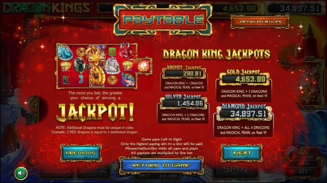 Dragon Kings :: Jackpot Rules