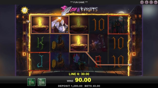 Energy featuring the Video Slots Dragon & Knights with a maximum payout of $40,000