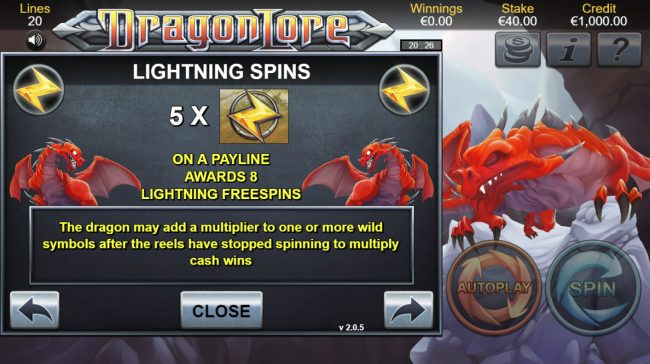 Amsterdam Casino featuring the Video Slots Dragon Lore with a maximum payout of $100,000
