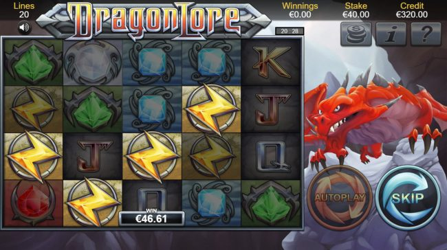 Sin Spins featuring the Video Slots Dragon Lore with a maximum payout of $100,000