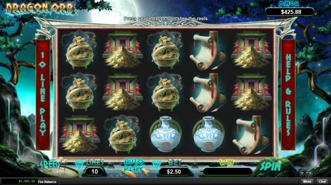 Play slots at Slots Plus: Slots Plus featuring the Video Slots Dragon Orb with a maximum payout of $12,500