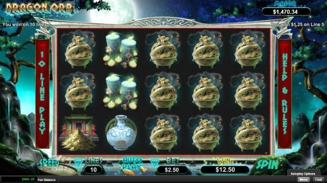 Fair Go featuring the Video Slots Dragon Orb with a maximum payout of $12,500