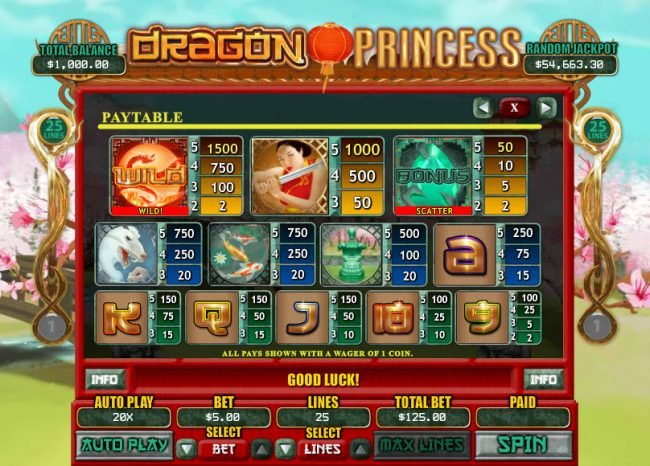 Club UK featuring the Video Slots Dragon Princess with a maximum payout of $7,500