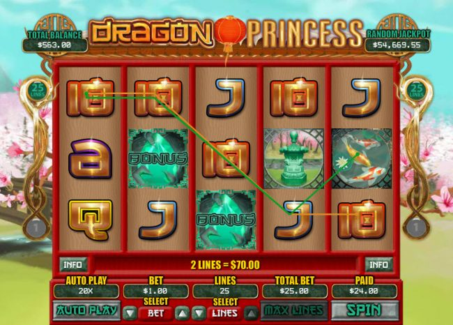 Wild Vegas featuring the Video Slots Dragon Princess with a maximum payout of $7,500