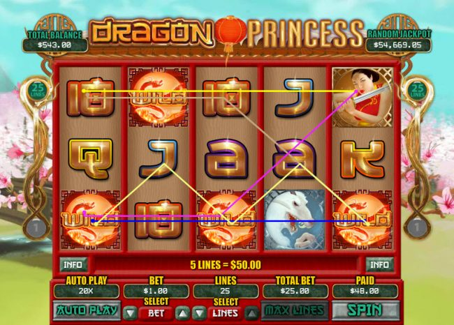Play slots at Slots.com: Slots.com featuring the Video Slots Dragon Princess with a maximum payout of $7,500