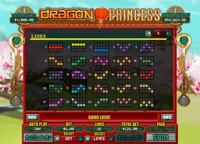 Plenty Jackpots featuring the Video Slots Dragon Princess with a maximum payout of $7,500