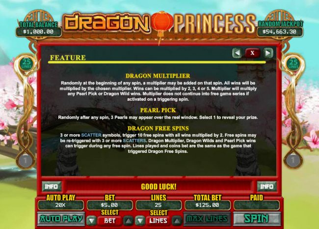 All Star Slots featuring the Video Slots Dragon Princess with a maximum payout of $7,500