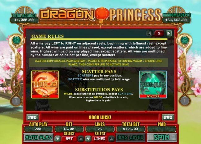 Play slots at Slots of Vegas: Slots of Vegas featuring the Video Slots Dragon Princess with a maximum payout of $7,500
