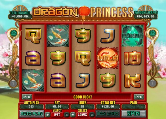 Ruby Slots featuring the Video Slots Dragon Princess with a maximum payout of $7,500