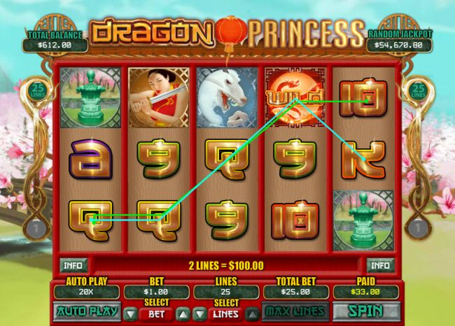 Saturn featuring the Video Slots Dragon Princess with a maximum payout of $7,500