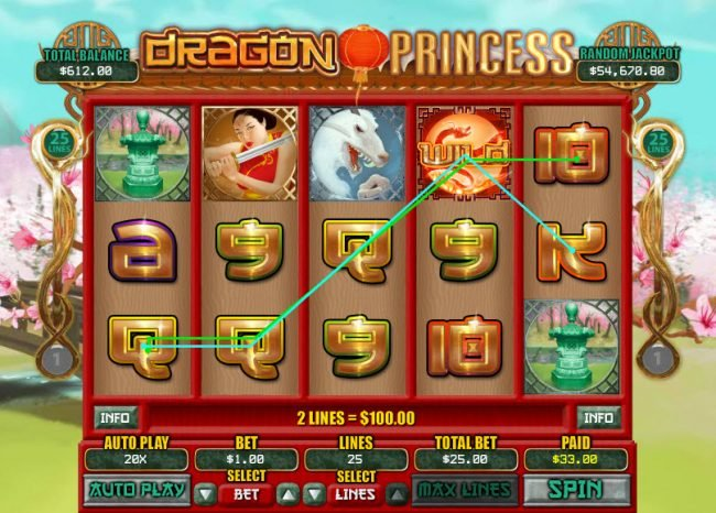 Planet7 Oz featuring the Video Slots Dragon Princess with a maximum payout of $7,500
