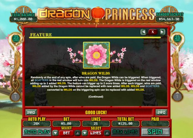 Red Dog featuring the Video Slots Dragon Princess with a maximum payout of $7,500