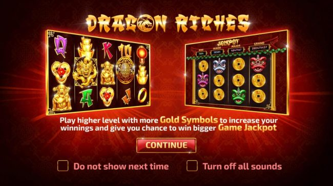 Play slots at Pokie Place: Pokie Place featuring the Video Slots Dragon Riches with a maximum payout of $88,000