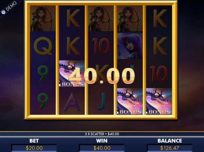 Dragonara featuring the Video Slots Dragon Slayers with a maximum payout of $8,000