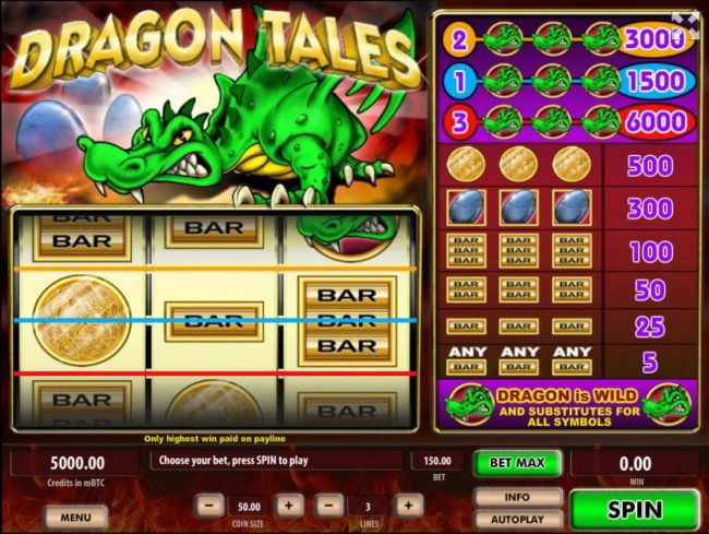 Play slots at Betflip Casino: Betflip Casino featuring the Video Slots Dragon Tales with a maximum payout of $600,000