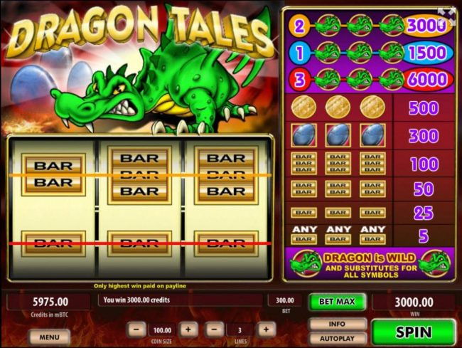 Royale24 featuring the Video Slots Dragon Tales with a maximum payout of $600,000