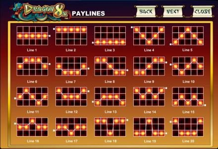 Casino Red Kings featuring the Video Slots Dragon 8s with a maximum payout of $12,500