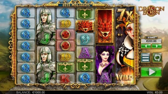 Dragon Born :: Main game board featuring five reels and 8232 ways to win with a $70,000 max payout
