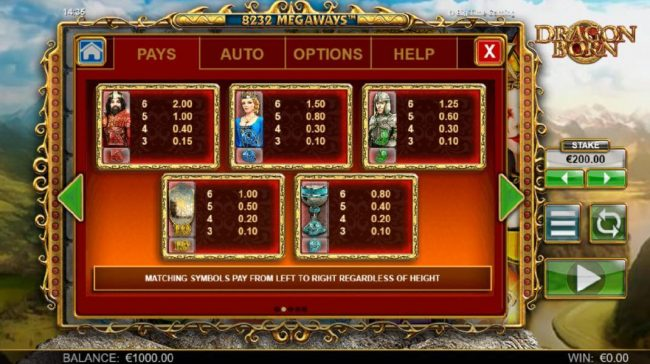 Dragon Born :: Low value slot game symbols paytable. Matching symbols pay from left to right regardless of height.