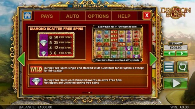 Dragon Born :: Diamond scatter free spins - 3 or more diamond scatter symbols awards from 6 to 50 free spins.