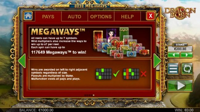 Dragon Born :: Each spin can have up to 117649 Megaways to win! All reels can have up to 7 symbols. Wild multipliers also increase the ways to win up to x7 per reel.