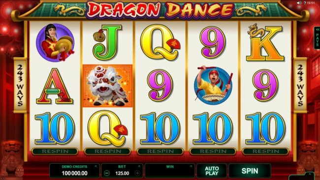 Queen Vegas featuring the Video Slots Dragon Dance with a maximum payout of $60,000