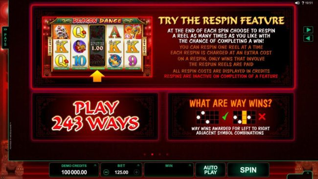 Spin Palace featuring the Video Slots Dragon Dance with a maximum payout of $60,000