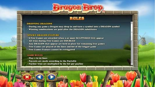 Ramses Gold featuring the Video Slots Dragon Drop with a maximum payout of $10,000