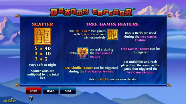365 Bet Bit featuring the Video Slots Dragon Emperor with a maximum payout of $25,000