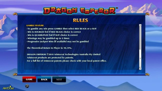 Gamble Feature Game Rules - The theoretical Return To Player is 95.19%