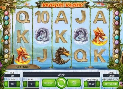 Winstar featuring the Video Slots Dragon Island with a maximum payout of $100,000