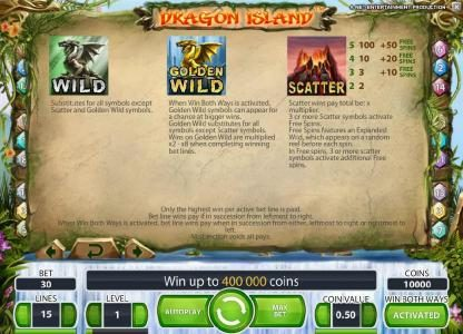 Sapphire Rooms featuring the Video Slots Dragon Island with a maximum payout of $100,000
