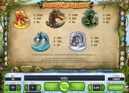 Touch Lucky featuring the Video Slots Dragon Island with a maximum payout of $100,000
