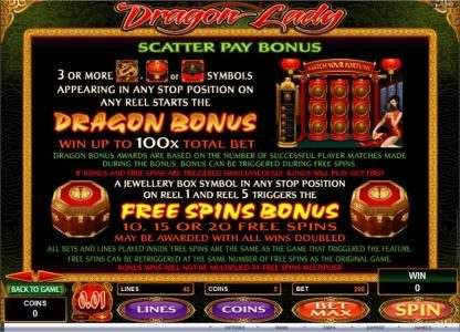 Playamo featuring the Video Slots Dragon lady with a maximum payout of $25,000
