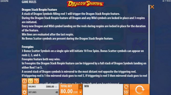 Play slots at Casino Mate: Casino Mate featuring the Video Slots Dragon Shrine with a maximum payout of $174,200