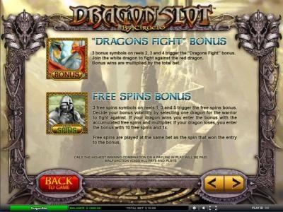 Dragon Slot :: dragons fight bonus and free spins bonus game rules