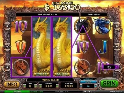 Dragon Slot :: stacked wilds trigger a 163.50 coin jackpot payout