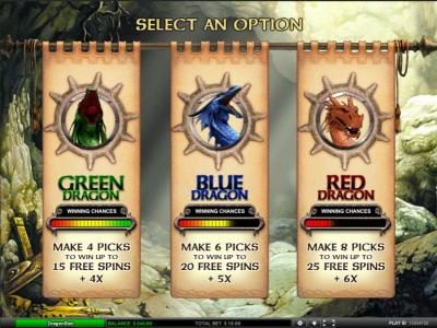 Dragon Slot :: select an option for your free spins bonus