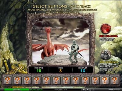 Dragon Slot :: select buttons to attack, avoid finding the warrior to win more free spins with a higher multiplier
