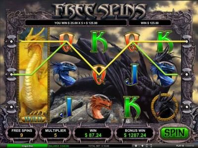 Dragon Slot :: 125 coin triggered by multiple winning paylines