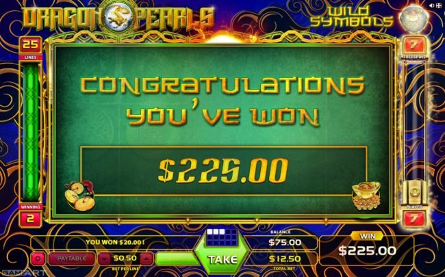 Lord of the Spins featuring the Video Slots Dragons and Pearls with a maximum payout of $1,250