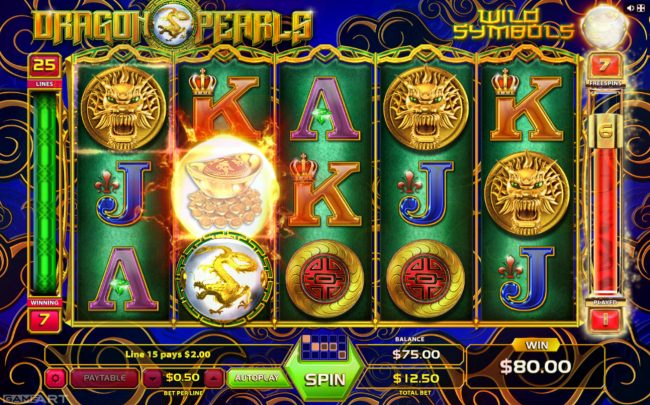 Wild Tornado featuring the Video Slots Dragons and Pearls with a maximum payout of $1,250