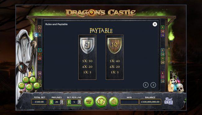 Dragon's Castle :: Low Value Symbols