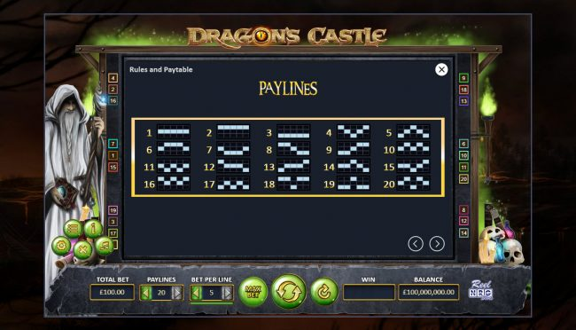 Dragon's Castle :: Paylines 1-20