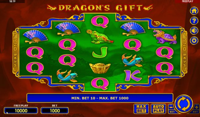 Play slots at Casinia: Casinia featuring the Video Slots Dragon's Gift with a maximum payout of $50,000