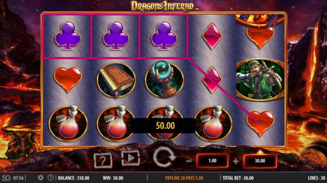 Dragon's Inferno :: A pair of winning paylines