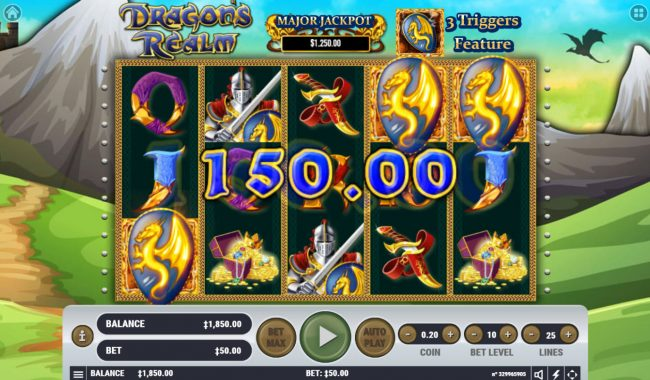Malina featuring the Video Slots Dragon's Realm with a maximum payout of $4,000,000