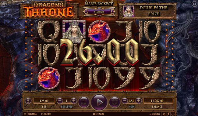 Vegas Crest featuring the Video Slots Dragon's Throne with a maximum payout of $25,000