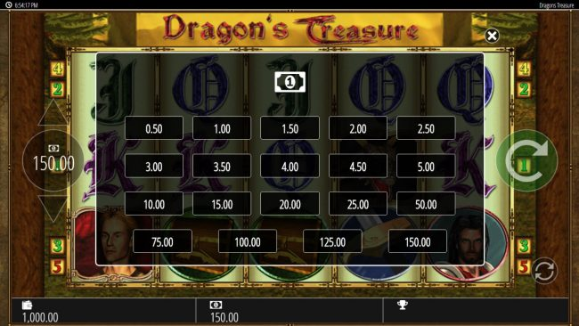 Secret Slots featuring the Video Slots Dragon's Treasure with a maximum payout of $250,000