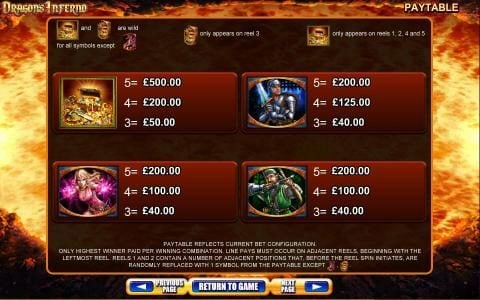 Dragon's Inferno :: Slot Game Symbols Paytable - Only highest winner paid per winning combination. Paytable reflects current bet configuration. Line pays must occur on adjacent reels, beginning with the leftmost reel.
